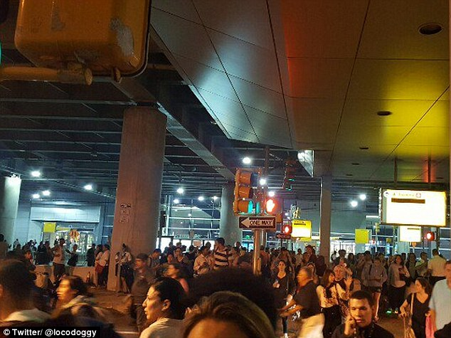 "'Police won't say anything except ""it's not safe to stay here"" as we leave terminal 8,' one person wrote on Twitter"