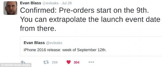 Although this could be another one of the many rumors, September 7 coincides with Evan Blass's tweet from last month that reveals pre-orders for the iPhone 7 will start on September 9.
