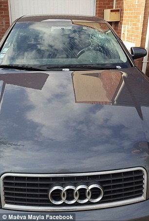 His front windscreen was badly damaged