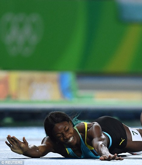 Miller dove at the last second and crossed the finish line just ahead of Felix in the 400m final, winning the race by a hair