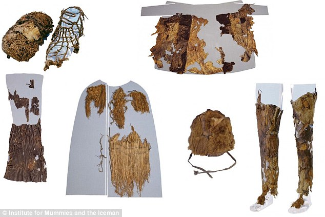 Researchers believe they have discovered the origin of his garments and quiver – a bag for holding arrows. From top left clockwise in this image is a shoe with grass interior (left) and leather exterior (right), the sheepskin coat, leggings made from goat hide, a hat made from bear fur, a grass coat and a leather loincloth