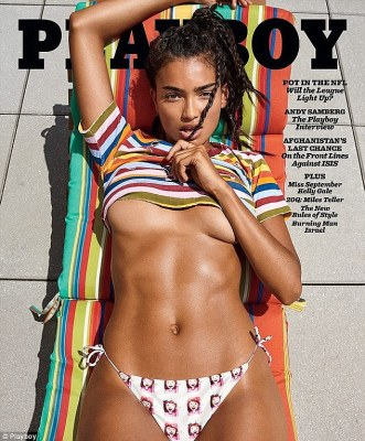 Sexy: Kelly graces the cover of Playboy's September 2016 issue, which includes a 14- page pictorial and centrefold