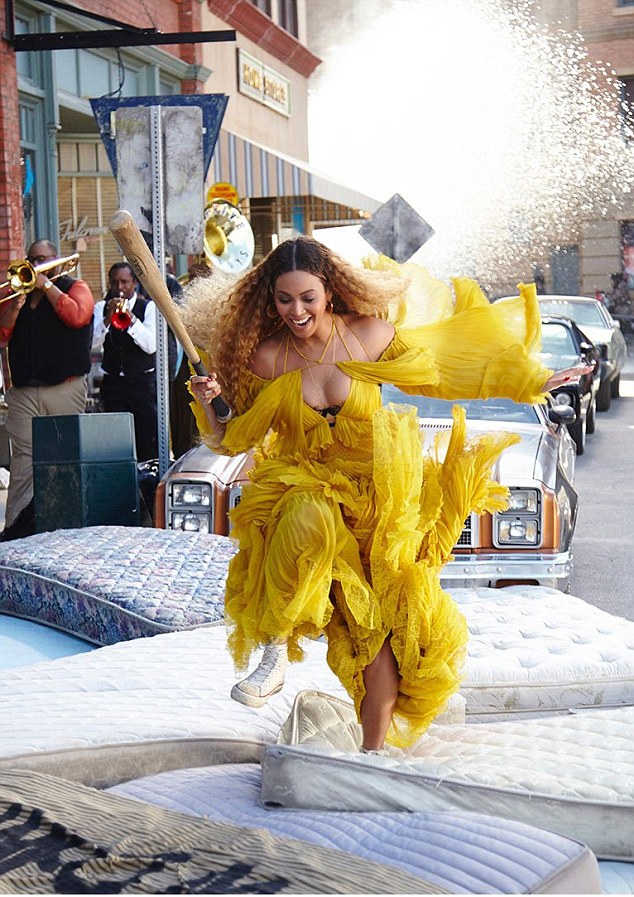 She does it all! Beyonce shared several behind-the-scenes snaps from her visual album Lemonade on Monday as she posted this one of her performing her own stunts