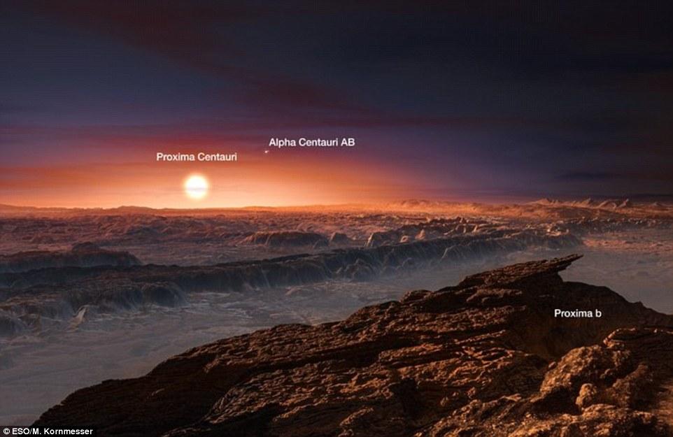 Um planeta rochoso que podem abrigar vida foi descoberto apenas quatro anos-luz da Terra - perto o suficiente para ser alcançado por futuras missões espaciais. Na foto é impressão de um artista da superfície do planeta, com vista para a sua estrela e da dupla estrela Alfa Centauri