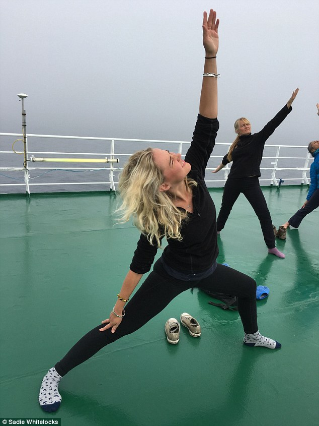 MailOnline's Sadie Whitelocks took part in an Arctic yoga course, close to the North Pole