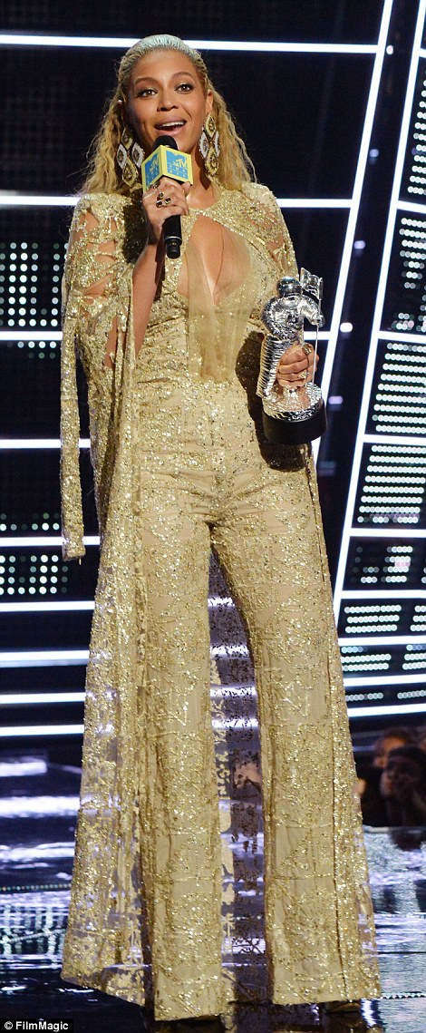 Going for the gold: Beyonce took home the both the Video Of The Year (left) and Best Female Video award at the 2016 MTV Video Music Awards in New York on Sunday