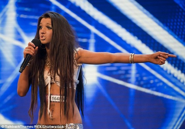 Poverty: Chloe said that her flat had no hot water and no carpet - but that her mother would always spoil her at Christmas time. She is pictured on the X Factor in 2010