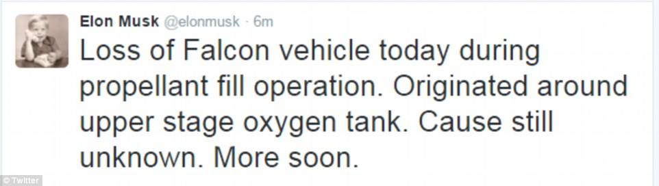 SpaceX CEO Elon Musk sent the above tweet about the explosion in Florida Thursday afternoon
