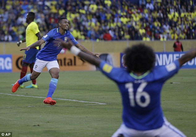 Manchester City youngster Gabriel Jesus wheels away after bagging his first senior Brazil goal