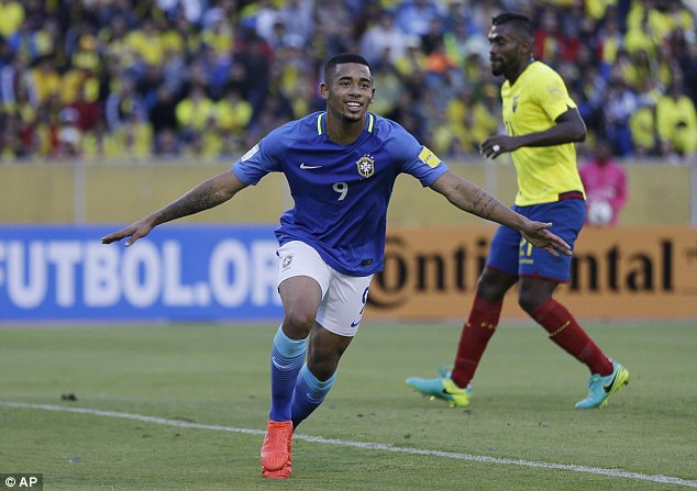 The youngster will arrive at City in January and scored his first senior Brazil goal