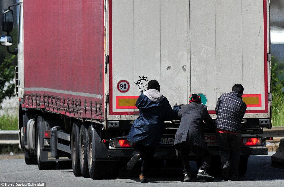 Frederic Houtecoeur, a lorry driver from Belgium, said: 'Every night we are coming up against migrants and our lives are put at risk. It is extremely dangerous'