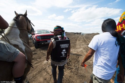 The protest Saturday came one day after the tribe filed court papers saying it found several sites of 'significant cultural and historic value' along the path of the proposed pipeline