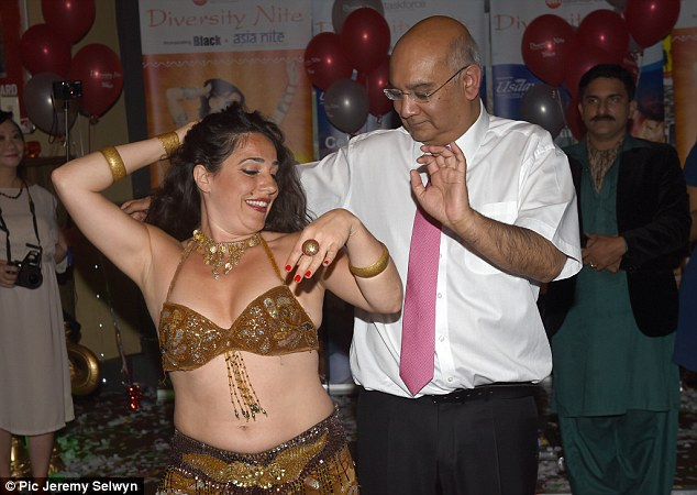 He was photographed dancing with a belly dancer at the Labour Party 'diversity' night in Brighton