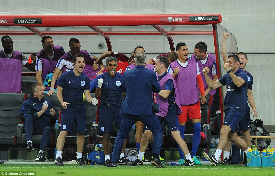 Allardyce and his coaching staff celebrate Lallana's late winning goal for England in the technical area at the City Arena