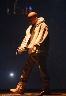 The one they're there to see: Kanye was hitting the stage with The Saint Pablo Tour
