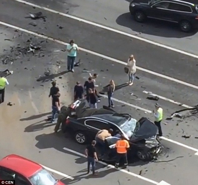 CCTV images of the footage taken on Kutuzovsky Avenue in the Russian capital Moscow show how the Mercedes collided head-on with the presidential BMW