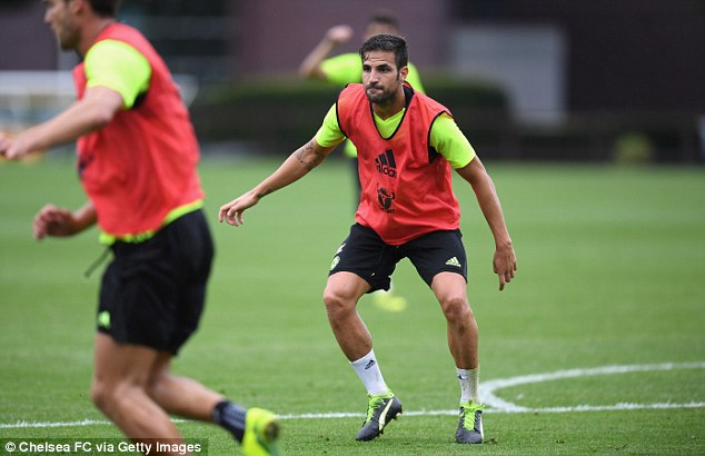 Cesc Fabregas has endured a frustrating start to the season but was seen getting stuck in