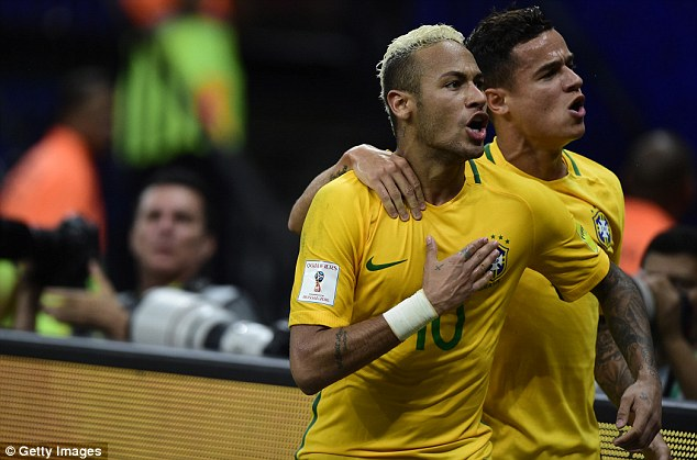 Neymar celebrates his latest moment of glory with Liverpool ace Philippe Coutinho