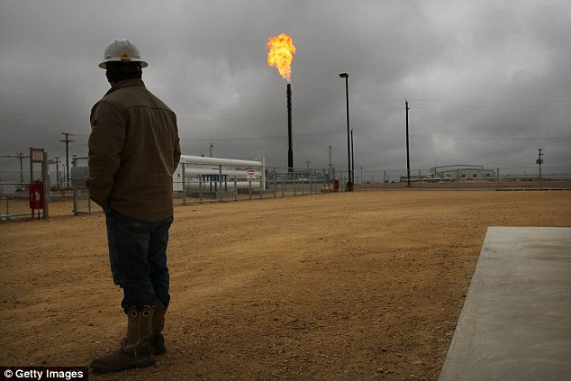 Flared natural gas is burned off at Apache Corporations operations at the Deadwood natural gas plant in the Permian Basin on February 5, 2015