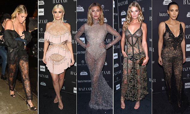 Sofia Richie, Hailey Baldwin and Kim Kardashian attend Harper's Bazaar party
