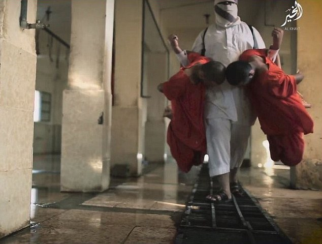 At one point in the film, an executioner wearing a white outfit carries two prisoners on each arm before slitting their throats over a metal grate where the blood of slaughtered animals would usually drain away