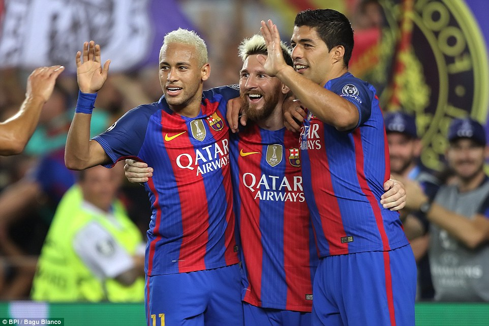 Barcelona's 'Holy Trinity' (L-R) Neymar, Lionel Messi and Luis Suarez celebrate the Argentine's hat-trick