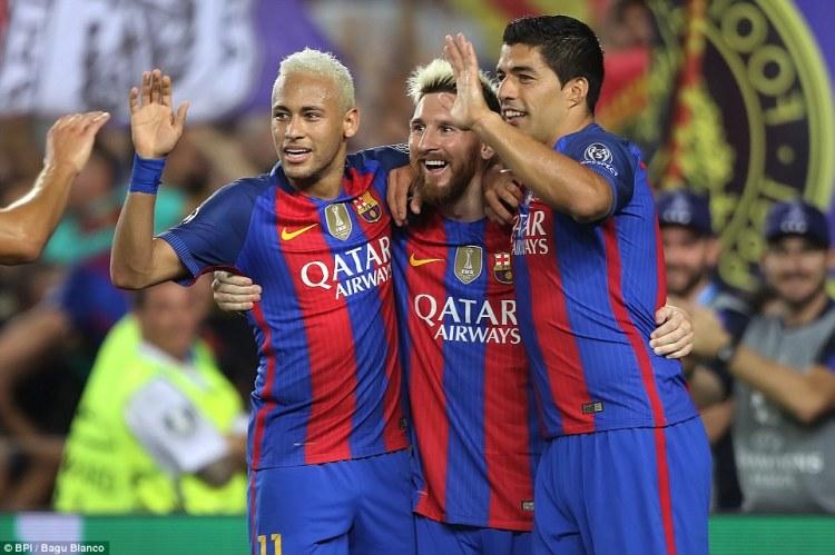 Barcelona's 'Holy Trinity' (L-R) Neymar, Lionel Messi and Luis Suarez celebrate the Argentine's hat-trick