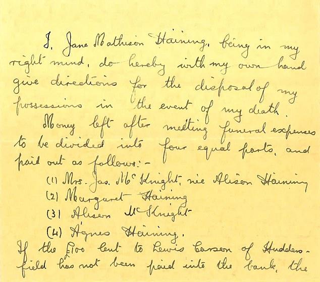 La signorina Haining ha scritto il suo testamento.  Nella scrittura ordinata della Chiesa di Scozia missionaria lasciato istruzioni in dettaglio quello che dovrebbe accadere ai suoi beni terreni dovrebbe non fare a casa
