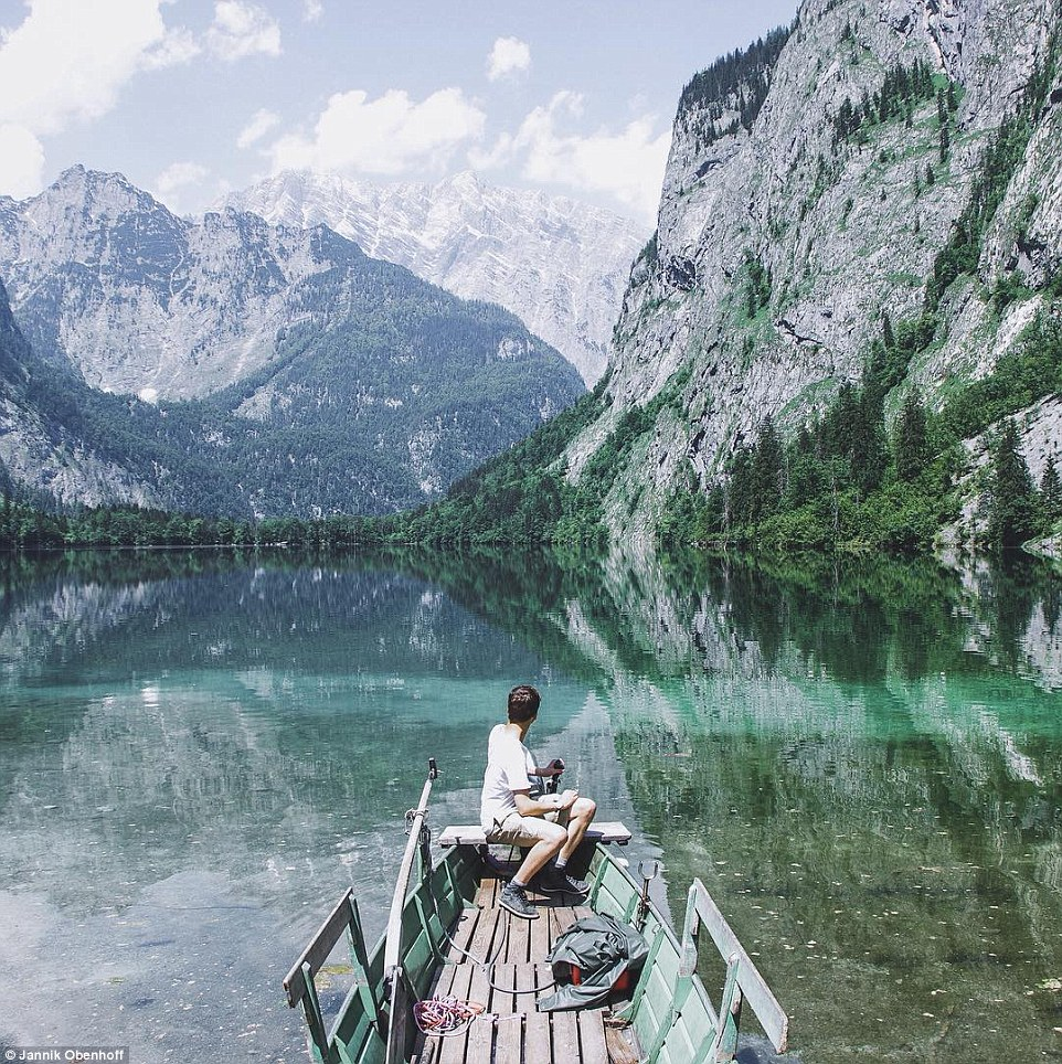 Many of these pictures were taken by the Munich-based photographer in Germany and Austria. Above,Obersee Lake
