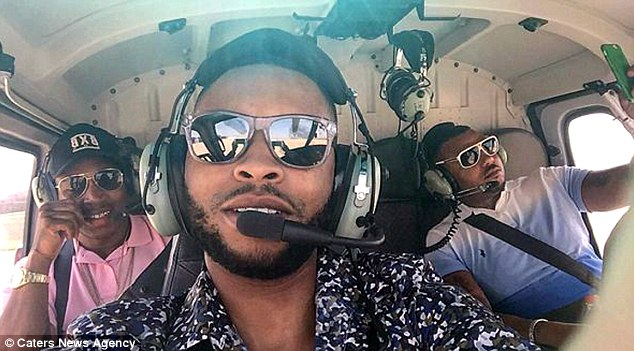 Another boastful photograph shows Watson in a helicopter with friends while on a holiday