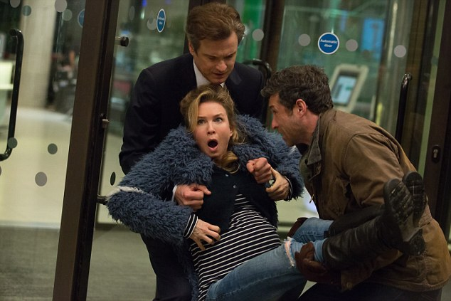 Labour pains: Renee Zellweger as Bridget with Colin Firth and Patrick Dempsey