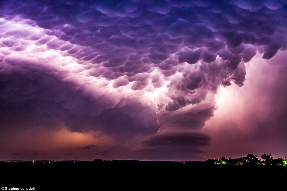 Nebraska storm: Stephen Lansdell's Mama Factory - the photographer and self-described 'storm chaser' said 'this  was so beautiful taking on many forms during its life and ending with one of the most spectacular shows I have ever witnessed'