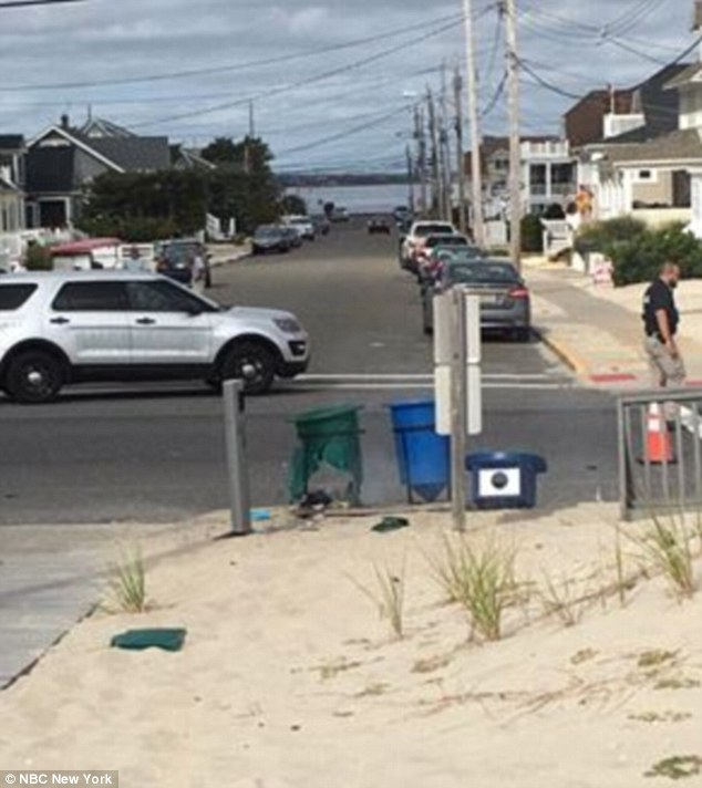 At 9.30am on Saturday, a pipe bomb exploded shortly before the Semper Five Run at Seaside Park, New Jersey (pictured)