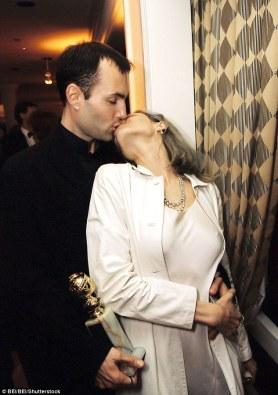 Image result for angelina jolie kissing james haven at the golden globes