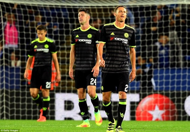 Chelsea players (left to right)Azpilicueta, Cahill and Nemanja Matic look shocked after they slip two goals behind