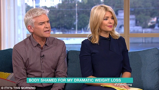 Asking the questions: Phillip Schofield and Holly Willoughby quizzed Tina on how she has dropped 11 stone