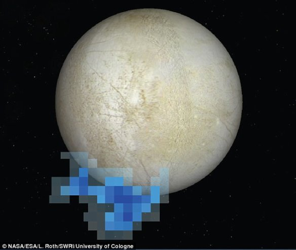 The announcement could be related to faint plumes of water spotted on the moon back in 2012.  This graphic shows the location of water vapor detected over Europa's south pole in December 2012