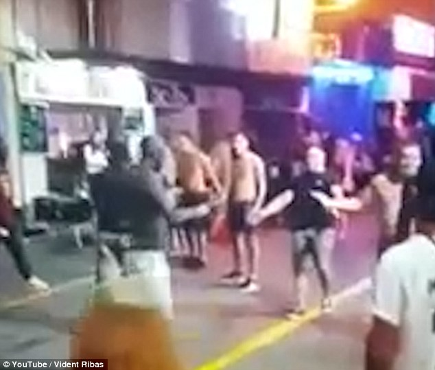 Confrontation: The British men were in the busy West End district of San Antonio, having only just arrived on the island, when they were confronted by thugs wielding knives and broken glass bottles