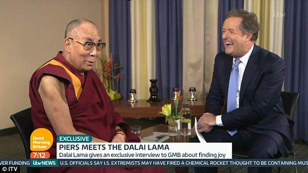 Piers Morgan and the Dalai Lama also took time out from the serious issues to discuss lighter matters including the impending divorce of Brad Pitt and Angelina Jolie