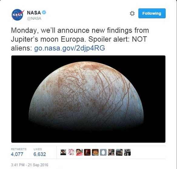 Nasa categorically stated in a later tweet that the discovery, which is due to be revealed on Monday is 'NOT aliens'