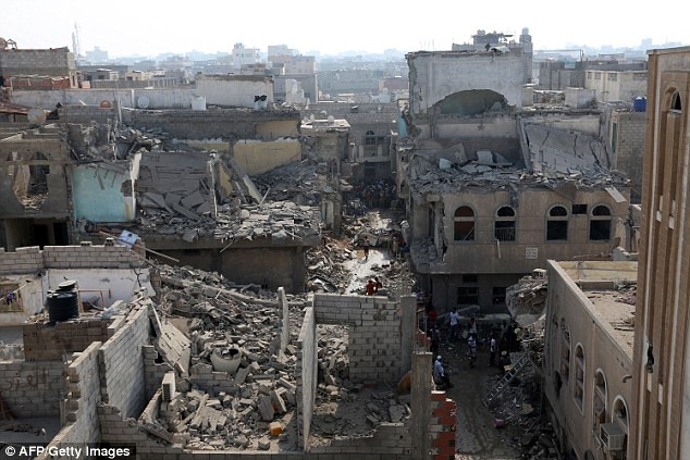 On the same day, the US Senate gave the green light to a $1.15 billion sale of military equipment to Saudi Arabia (pictured, buildings destroyed in Hodeida, Yemen)