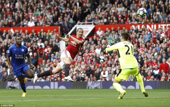 Zlatan Ibrahimovic wasted an excellent chance to double United's lead, blazing over the bar after turning in the box