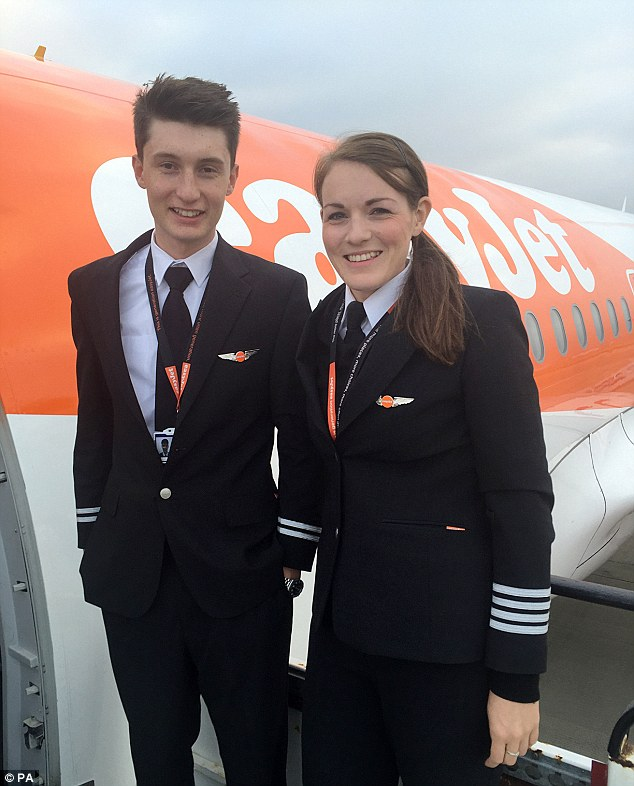 Miss McWilliams, pictured with Luke Elsworth, took up flying in the air cadets aged 13
