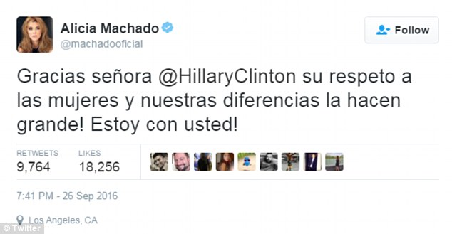 'I'm with you!' Alicia Machado posted this tweet shortly after the end of Monday's debate - but it is unknown if the Clinton campaign knew about the questions over her past