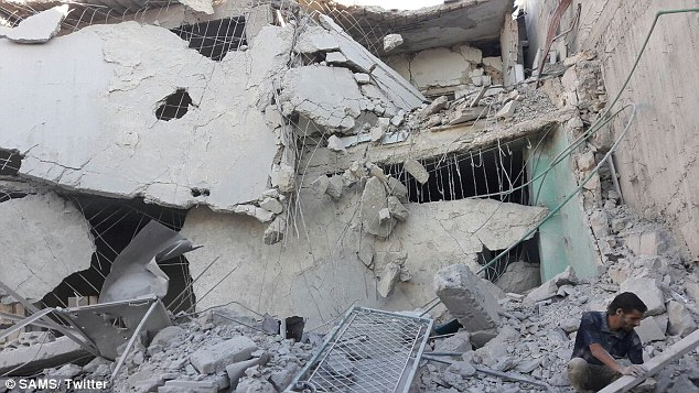 'Early this morning, 2 SAMS-supported hospitals in eastern Aleppo were hit by targeted airstrikes and shelling. 2 casualties & 5 injured,'Dr Zaher Sahloul reported as he shared this photo