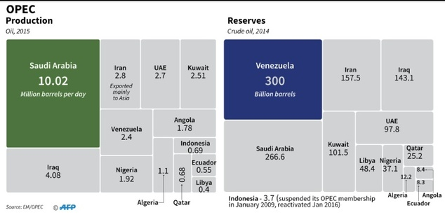 OPEC oil production and reserves