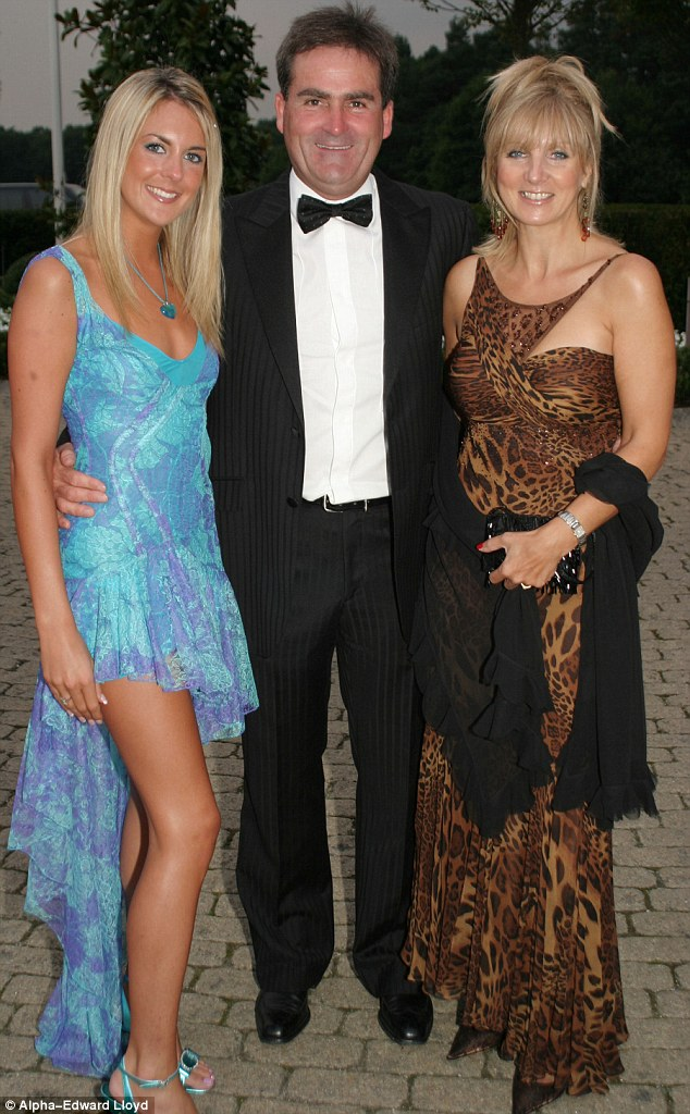 Family: Richard Keys, 59, (centre) with his wife Julia (right) who is believed to be filing for a divorce after Mr Keys had an alleged affair with a friend of his daughter Jemma (left)