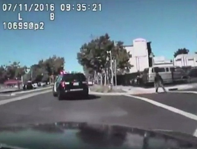 The shocking video shows the police attempting to run over 50-year-old Joseph Mann (right) on July 11