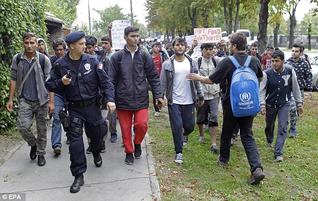Hundreds of migrants from Middle East countries marched through the Serbian capital,  trying to move towards Hungary, in order to reach western European countries