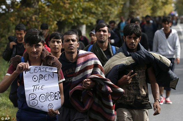 The group, made up of mainly young men and boys, chanted 'Open Hungary Borders' and held banners saying 'we don't need food, water or nothing, we want you to open the borders' as they marched north in a long column from Belgrade along a road leading toward the Hungarian border 120 miles away